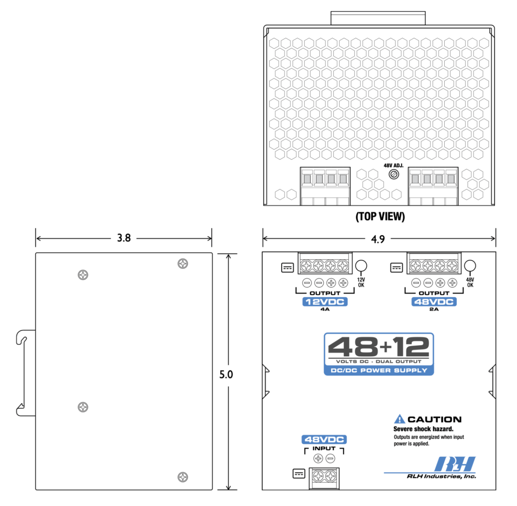 48VDC to 48~12V Dual Output DC/DC Power Supply - Dimensions