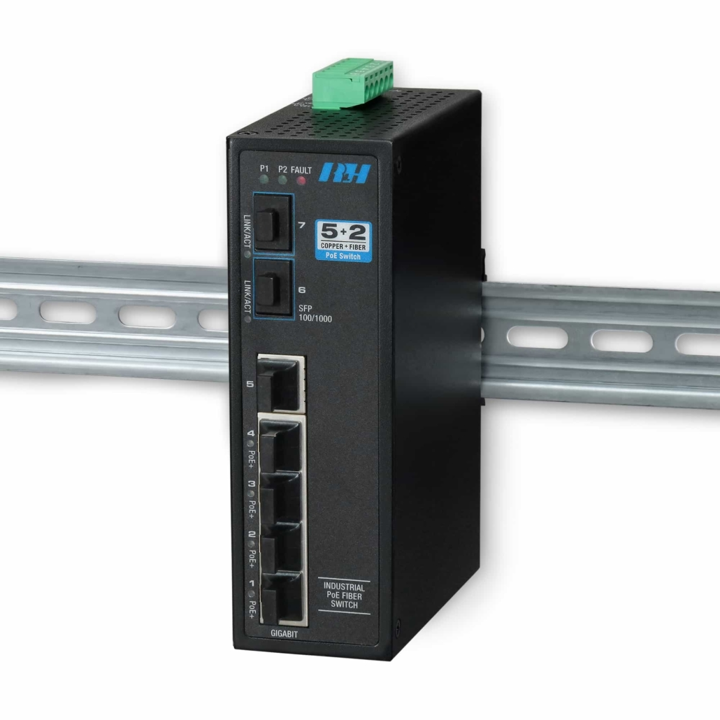 Industrial Ethernet Switches - 5+2 Gigabit SFP PoE+ Switch