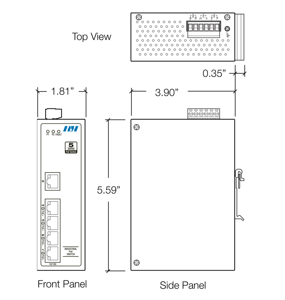 5 Port PoE+ Switch Dimensions